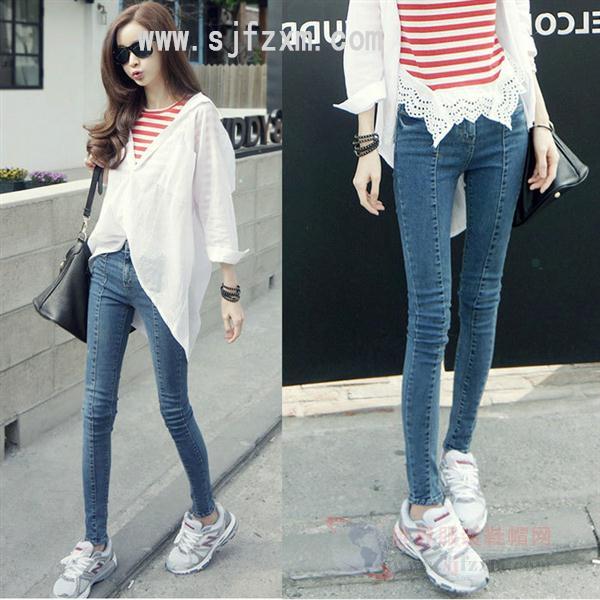 厂家供应十元以下库存尾货女士韩版小脚牛仔裤批发全国最便宜的牛仔裤批发厂家