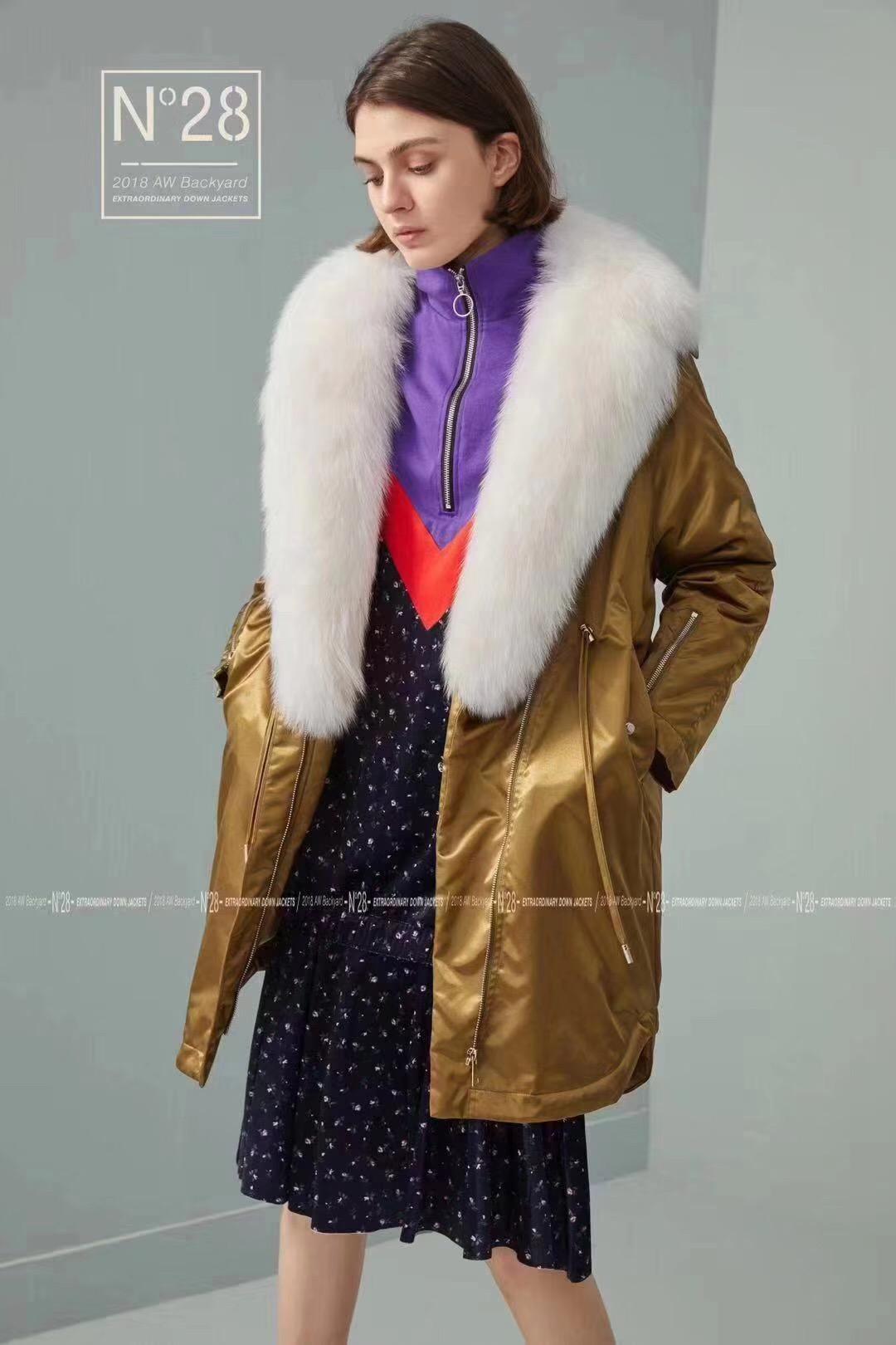 N28高端奢华大毛领个性羽绒服品牌折扣尾货女装走份分份