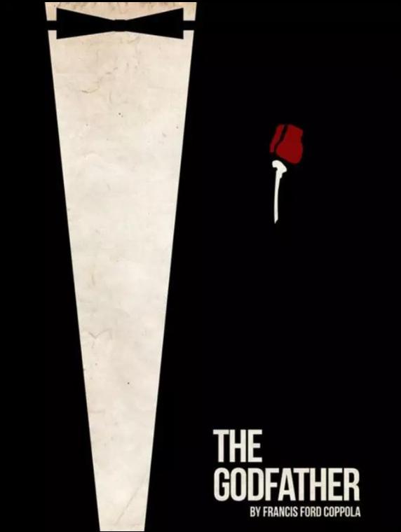 在电影《教父》的极简海报中,最主要的元素就是黑色领结和胸前的玫瑰