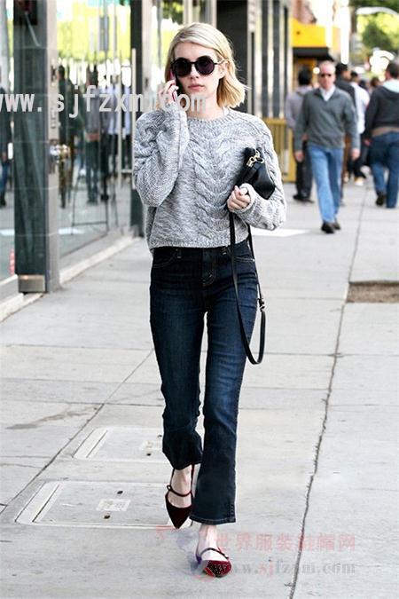 时尚达人演绎尖头平底鞋搭配-换换口味,平底鞋也可以很时髦