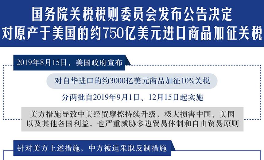中方对美国750亿美元进口商品加征关税