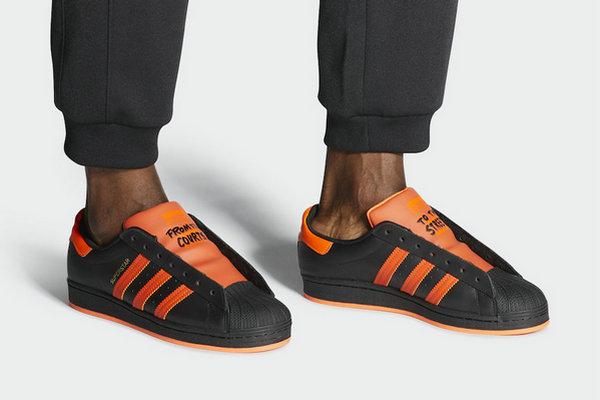 Adidas Superstar No Shoelaces Version Of The New Black Orange ...