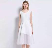 2017年夏季新款欧美大牌前后深V领拼接不规则连衣裙