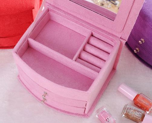 首饰盒公主绒布木质欧式韩国双层带锁珠宝耳钉手饰品架收纳盒