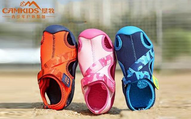 camkids垦牧男童鞋小童沙滩鞋2017夏季新款女童鞋儿童凉鞋包头