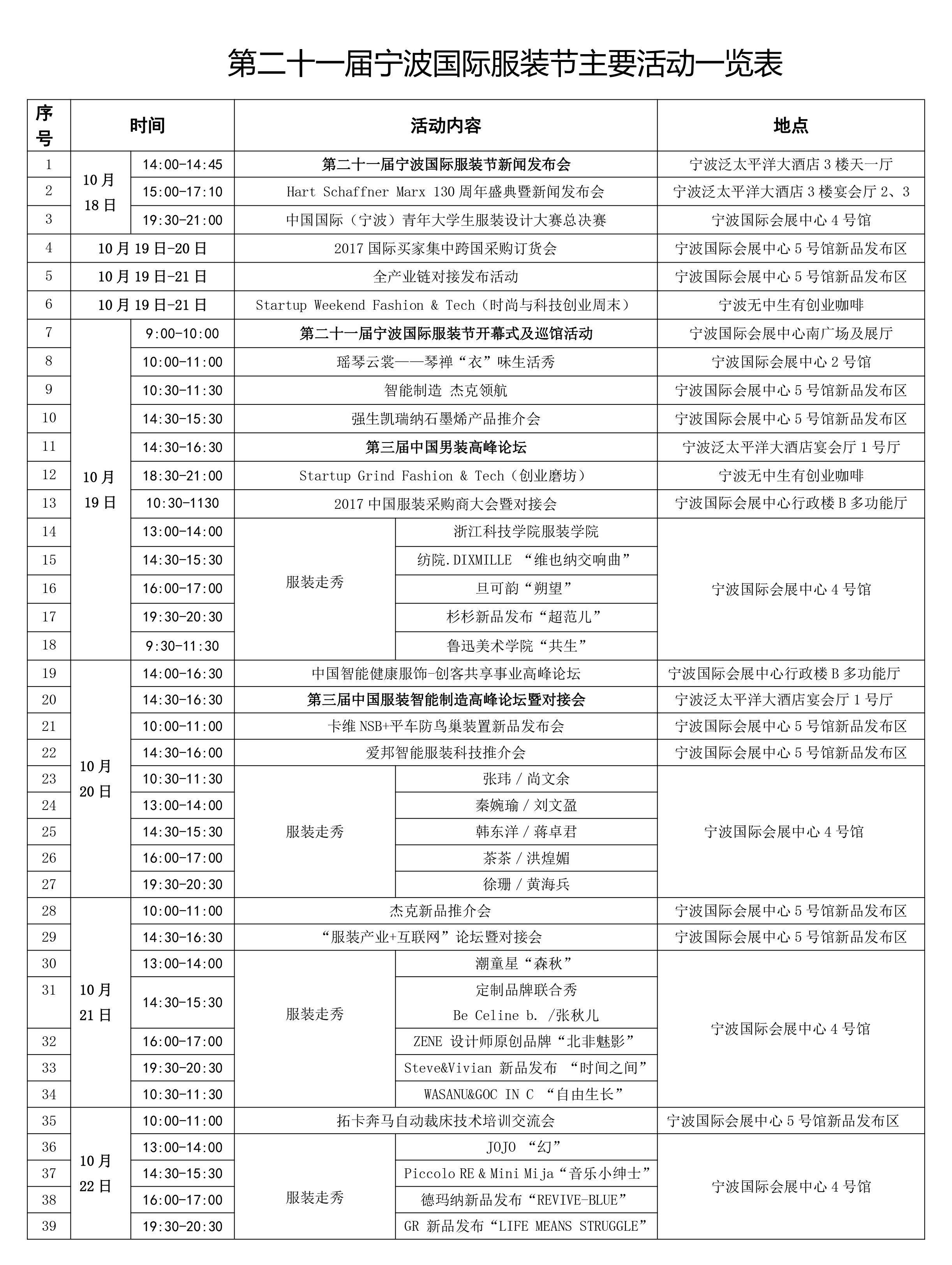 活动一览表